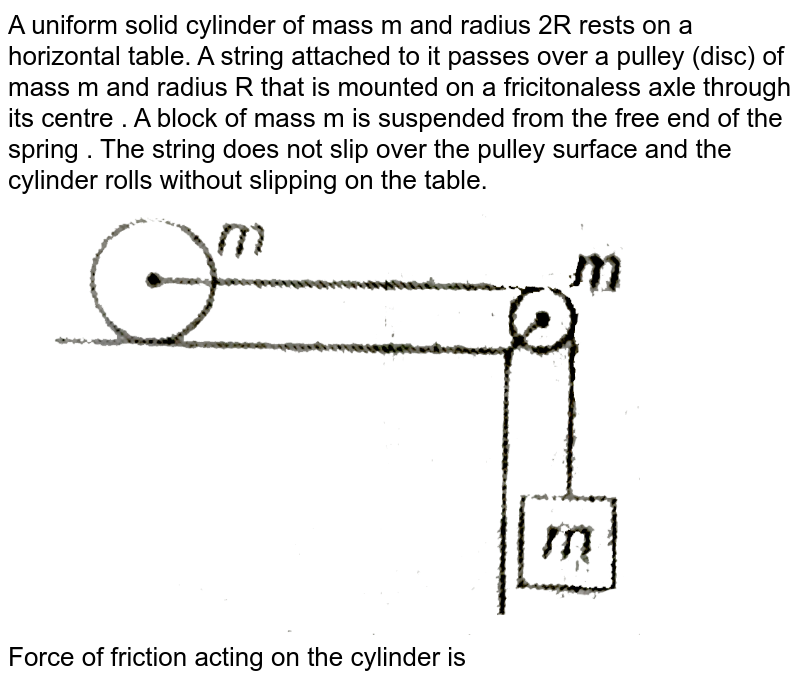 """A uniform solid cylinder of mass m and radius 2R rests on a horizontal table. A string attached to it passes over a pulley (disc) of mass m and radius R that is mounted on a fricitonaless axle through its centre .  A block of mass m is suspended from the free end of the spring . The string does not slip over the pulley surface and the cylinder rolls without slipping on the table. <br> <img src=""""https://d10lpgp6xz60nq.cloudfront.net/physics_images/MPP_PHY_C08_E01_225_Q01.png"""" width=""""80%""""> <br> Force of friction acting on the cylinder is"""