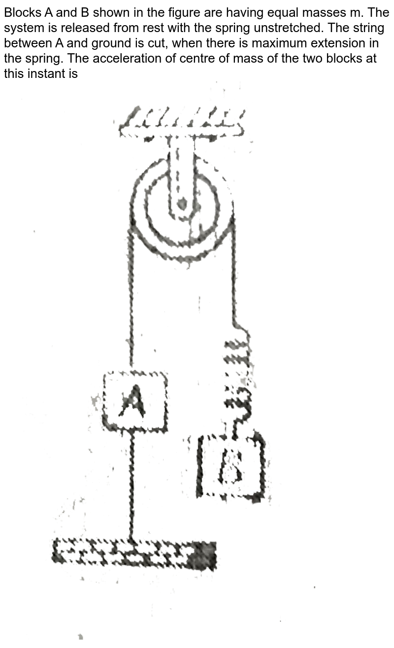 """Blocks A and B shown in the figure are having equal masses m. The system is released from rest with the spring unstretched. The string between A and ground is cut, when there is maximum extension in the spring. The acceleration of centre of mass of the two blocks at this instant is <br> <img src=""""https://d10lpgp6xz60nq.cloudfront.net/physics_images/MPP_PHY_C07_E01_086_Q01.png"""" width=""""80%"""">"""
