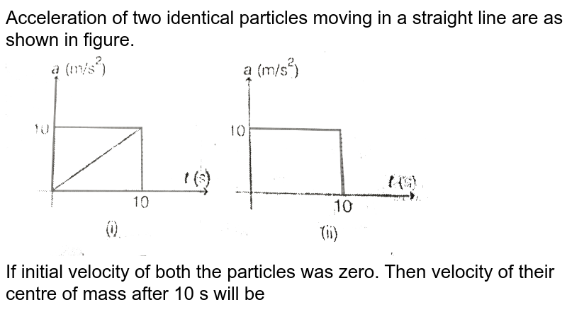 """Acceleration of two identical particles moving in a straight line are as shown in figure. <br>  <img src=""""https://d10lpgp6xz60nq.cloudfront.net/physics_images/MPP_PHY_C07_E01_147_Q01.png"""" width=""""80%""""> <br> If initial velocity of both the particles was zero. Then velocity of their centre of mass after 10 s will be"""