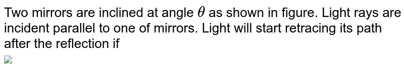 """Two mirrors are inclined at angle  `theta` as shown in figure. Light rays are incident parallel to one of mirrors. Light will start retracing its path after the reflection if  <br> <img src=""""https://d10lpgp6xz60nq.cloudfront.net/physics_images/MPP_PHY_C14_E01_102_Q01.png"""" width=""""80%"""">"""