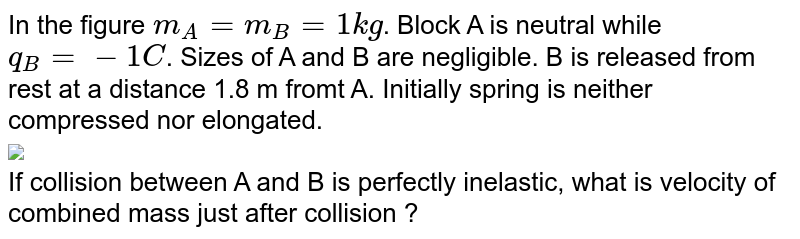 """In the figure `m_(A) = m_(B) = 1 kg`. Block A is neutral while `q_(B) = -1C`. Sizes of A and B are negligible. B is released from rest at a distance 1.8 m fromt A. Initially spring is neither compressed nor elongated. <br> <img src=""""https://d10lpgp6xz60nq.cloudfront.net/physics_images/MPP_PHY_C16_E01_170_Q01.png"""" width=""""80%""""> <br> If collision between A and B is perfectly inelastic, what is velocity of combined mass just after collision ?"""