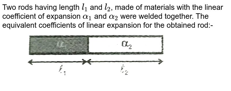 """Two rods having length `l_(1)` and `l_(2)`, made of materials with the linear coefficient of expansion `alpha_(1)` and `alpha_(2)` were welded together. The equivalent coefficients of linear expansion for the obtained rod:- <br> <img src=""""https://d10lpgp6xz60nq.cloudfront.net/physics_images/RES_HAT_PHY_XI_C02_E01_048_Q01.png"""" width=""""80%"""">"""