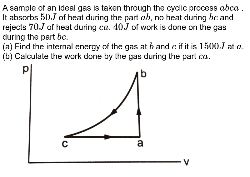 """A sample of an ideal gas is taken through the cyclic process `abca` . It absorbs `50 J` of heat during the part `ab`, no  heat during `bc` and rejects `70 J` of heat during `ca`. `40 J` of work is done on the gas  during the part `bc`.<br>(a) Find the internal energy of  the gas at `b` and `c` if it is `1500 J` at `a`. <br>(b) Calculate the work done by the gas during the part `ca`. <br> <img src=""""https://d10lpgp6xz60nq.cloudfront.net/physics_images/HCV_VOL2_C26_S01_003_Q01.png"""" width=""""80%"""">"""