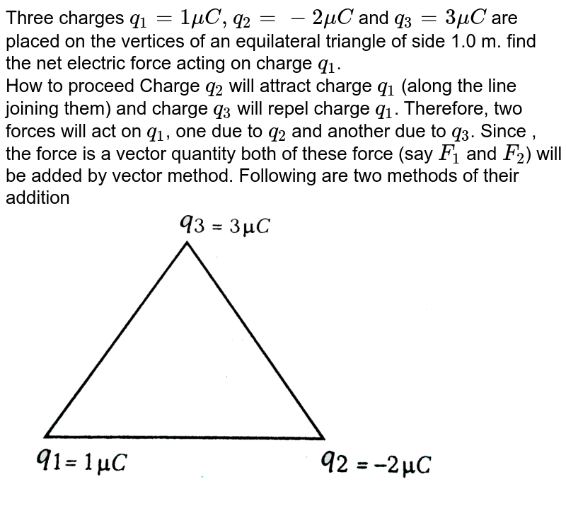 """Three charges `q_(1) = 1 mu C, q_(2) = -2 muC` and `q_(3) = 3mu C` are placed on the vertices of an equilateral triangle of side 1.0 m. find the net electric force acting on charge `q_(1)`. <br>  How to proceed Charge `q_(2)` will attract charge `q_(1)` (along the line joining them) and charge `q_(3)` will repel charge `q_(1)`. Therefore, two forces will act on `q_(1)`, one due to `q_(2)` and another due to `q_(3)`. Since , the force is a vector quantity both of these force (say `F_(1)` and `F_(2)`) will be added by vector method. Following are two methods of their addition <br> <img src=""""https://d10lpgp6xz60nq.cloudfront.net/physics_images/ARH_NEET_PHY_OBJ_V02_C01_S01_012_Q01.png"""" width=""""80%"""">"""