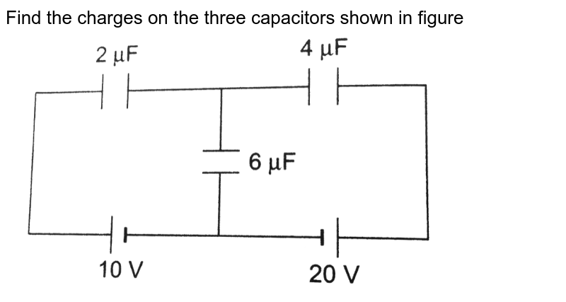 """Find the charges on the three capacitors shown in figure <img src=""""https://d10lpgp6xz60nq.cloudfront.net/physics_images/DCP_VOL_4_C25_S01_012_Q01.png"""" width=""""80%"""">"""