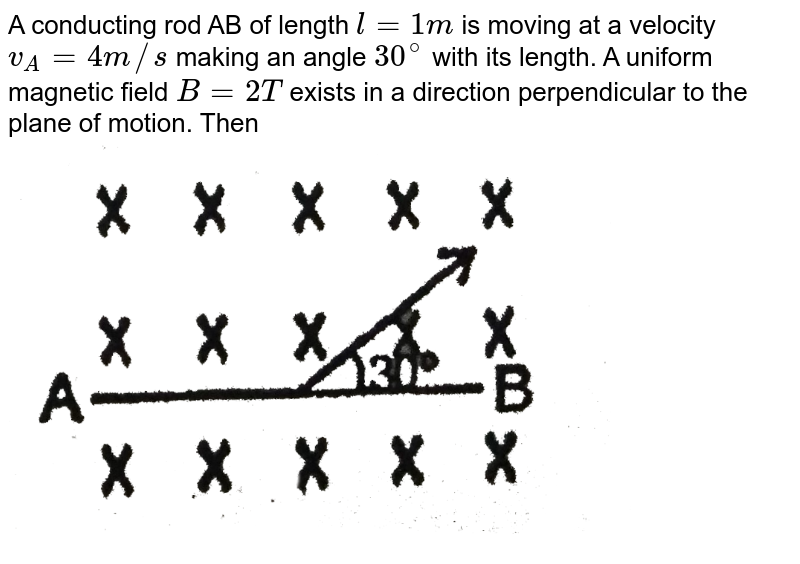 """A conducting rod AB of length `l=1m` is moving at a velocity `v_A=4m//s` making an angle `30^@` with its length. A uniform magnetic field `B=2T` exists in a direction perpendicular to the plane of motion. Then <br> <img src=""""https://d10lpgp6xz60nq.cloudfront.net/physics_images/RES_PHY_RK_JM_C25_E01_881_Q01.png"""" width=""""80%"""">"""