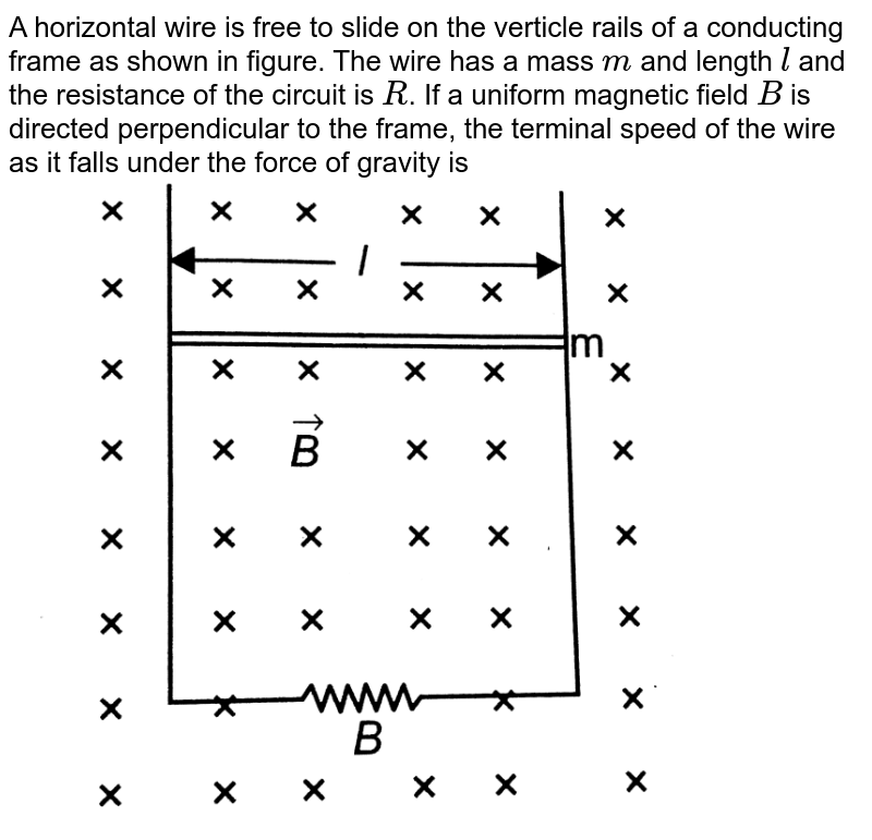 """A horizontal wire is free to slide on the verticle rails of a conducting frame as shown in figure. The wire has a mass `m` and length `l` and the resistance of the circuit is `R`. If a uniform magnetic field `B` is directed perpendicular to the frame, the terminal speed of the wire as it falls under the force of gravity is <br> <img src=""""https://d10lpgp6xz60nq.cloudfront.net/physics_images/BMS_OBJ_XII_C06_E01_247_Q01.png"""" width=""""80%"""">"""
