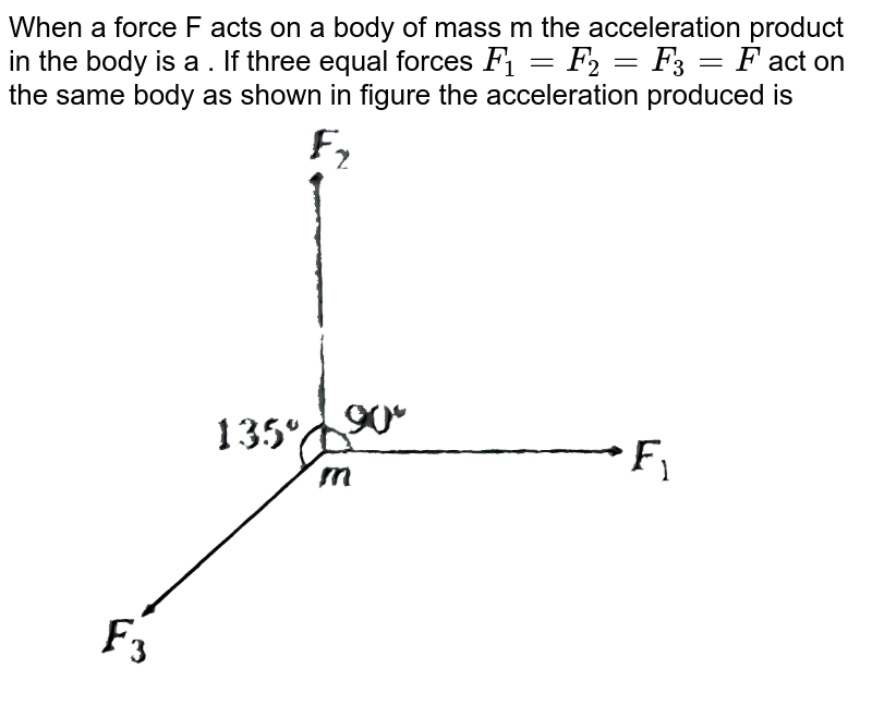 """When a force F acts on a body of mass m the acceleration product in the body is a . If three equal forces `F_(1)=F_(2)=F_(3)=F` act on the same body as shown in figure the acceleration produced is  <br> <img src=""""https://d10lpgp6xz60nq.cloudfront.net/physics_images/ARH_NEET_PHY_OBJ_V01_C02_E01_119_Q01.png"""" width=""""80%"""">"""