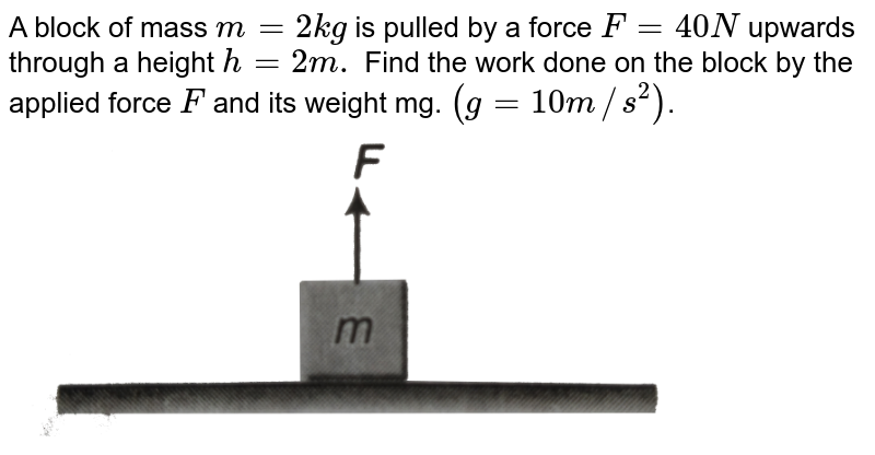 """A block of mass `m=2kg ` is pulled by a force `F=40 N` upwards through a height `h=2 m.` Find the work done on the block by the applied force `F` and its weight mg. `(g=10m//s^2)`. <br> <img src=""""https://d10lpgp6xz60nq.cloudfront.net/physics_images/DCP_V01_C09_S01_002_Q01.png"""" width=""""80%"""">"""