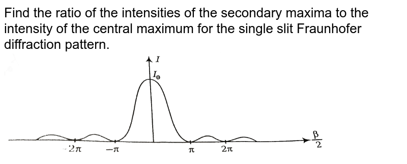 """Find the ratio of the intensities of the secondary maxima to the intensity of the central maximum for the single slit Fraunhofer diffraction pattern. <br> <img src=""""https://d10lpgp6xz60nq.cloudfront.net/physics_images/ARH_NEET_PHY_OBJ_V02_C10_S01_052_Q01.png"""" width=""""80%"""">"""