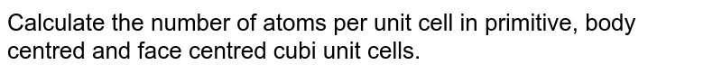 Calculate the number of atoms per unit cell in primitive, body centred and face centred cubi unit cells.