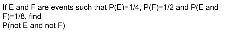 If E and F are events such that P(E)=1/4, P(F)=1/2 and P(E and F)=1/8, find <br> P(not E and not F)