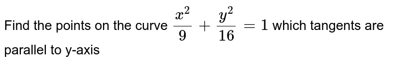 Find the points on the curve `x^2/9+y^2/16=1` which tangents are parallel to y-axis