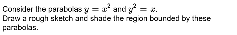Consider the parabolas `y=x^2` and `y^2=x`. <br> Draw a rough sketch and shade the region bounded by these parabolas.