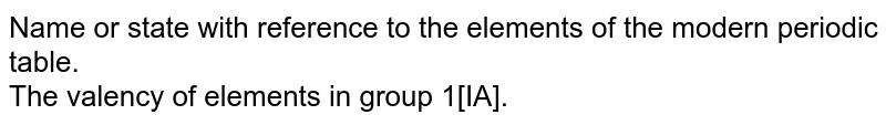 Name or state with reference to the elements of the modern periodic table. <br> The valency of elements in group 1[IA].