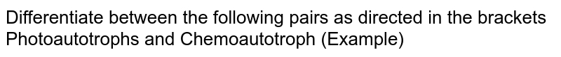 Differentiate between the following pairs as directed in the brackets <br> Photoautotrophs and Chemoautotroph (Example)