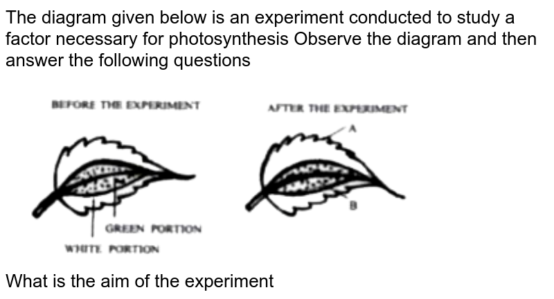 """The diagram given below is an experiment conducted to study a factor necessary for photosynthesis Observe the diagram and then answer the following questions <br> <img src=""""https://doubtnut-static.s.llnwi.net/static/physics_images/EVR_ANM_ICSE_BIO_X_C05_E01_143_Q01.png"""" width=""""80%""""><br> What is the aim of the experiment"""