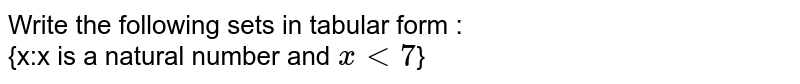 Write the following sets in tabular form : <br> {x:x is a natural number and `x lt7`}
