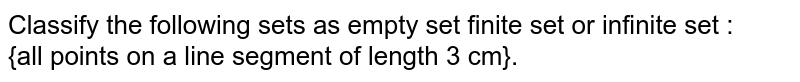 Classify the following sets as empty set finite set or infinite set : <br> {all points on a line segment of length 3 cm}.