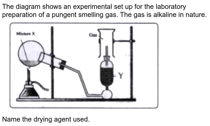 """The diagram shows an experimental set up for the laboratory preparation of a pungent smelling gas. The gas is alkaline in nature. <br> <img src=""""https://doubtnut-static.s.llnwi.net/static/physics_images/EVR_BLK_ICSE_CHE_X_C09_E03_040_Q01.png"""" width=""""80%"""">  <br> Name the drying agent used."""