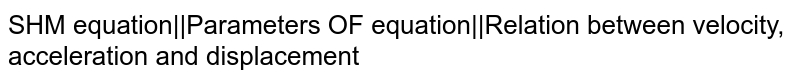 SHM equation  Parameters OF equation  Relation between velocity, acceleration and displacement