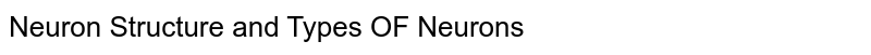 Neuron Structure and Types OF Neurons