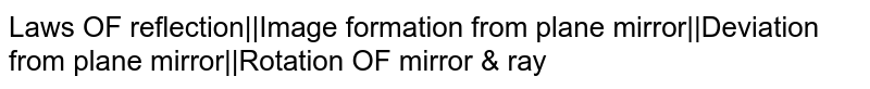 Laws OF reflection  Image formation from plane mirror  Deviation from plane mirror  Rotation OF mirror & ray