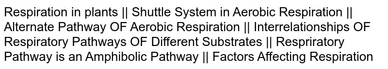 Respiration in plants || Shuttle System in Aerobic Respiration || Alternate Pathway OF Aerobic Respiration ||  Interrelationships OF Respiratory Pathways OF Different Substrates || Respriratory Pathway is an Amphibolic Pathway || Factors Affecting Respiration