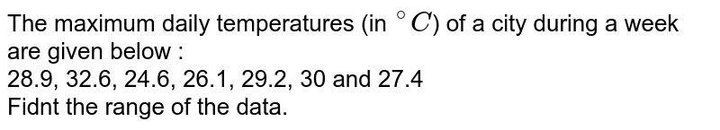 """The maximum daily temperatures (in `""""""""^(@)C`) of a city during a week are given below : <br> 28.9, 32.6, 24.6, 26.1, 29.2, 30 and 27.4 <br> Fidnt the range of the data."""