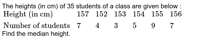 """The heights (in cm) of 35 students of a class are given below : <br> `{:(""""Height (in cm)"""",157,152,153,154,155,156),(""""Number of students"""",7,4,3,5,9,7):}` <br> Find the median height."""