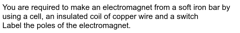 You are required to make an electromagnet from a soft iron bar by using a cell, an insulated coil of copper wire and a switch <br> Label the poles of the electromagnet.