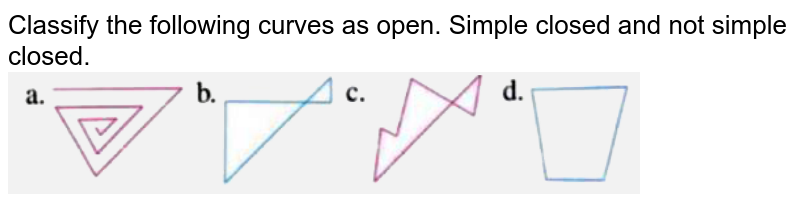 """Classify the following curves as open. Simple closed and not simple closed.  <br> <img src=""""https://d10lpgp6xz60nq.cloudfront.net/physics_images/OXF_SMT_ICSE_MAT_VI_C09_E04_018_Q01.png"""" width=""""80%"""">"""