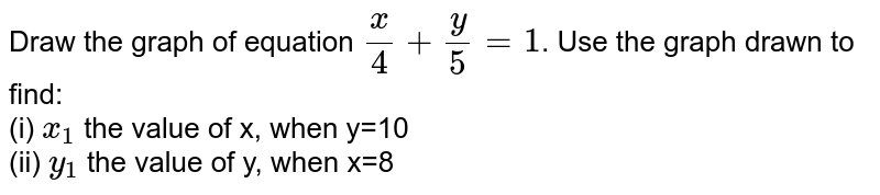 Draw the graph of equation `x/4+y/5=1`. Use the graph drawn to find: <br> (i) `x_(1)` the value of x, when y=10 <br> (ii) `y_(1)` the value of y, when x=8