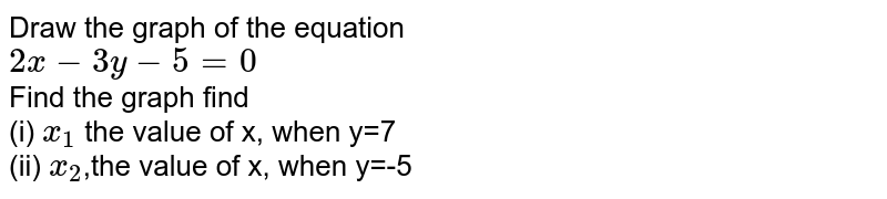 Draw the graph of the equation <br> `2x-3y-5=0` <br> Find the graph find <br> (i) `x_(1)` the value of x, when y=7 <br> (ii) `x_(2)`,the value of x, when y=-5