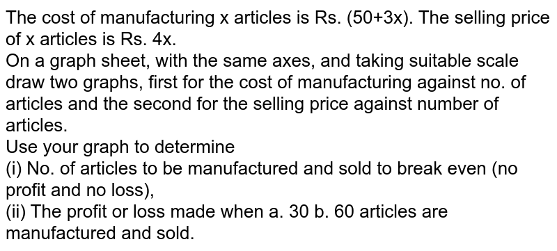 The cost of manufacturing x articles is Rs. (50+3x). The selling price of x articles is Rs. 4x. <br> On a graph sheet, with the same axes, and taking suitable scale draw two graphs, first  for the cost of manufacturing against no. of articles and the second for the selling price against number of articles. <br> Use your graph to determine <br> (i) No. of articles to be manufactured and sold to break even (no profit and no loss), <br> (ii) The profit or loss made when a. 30 b. 60 articles are manufactured and sold.