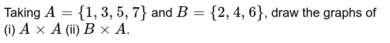 Taking `A={1,3,5,7}` and `B={2,4,6}`, draw the graphs of (i) `AxxA` (ii) `BxxA`.