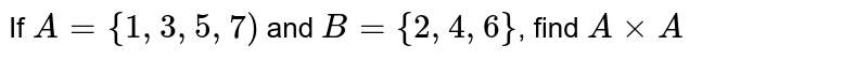 If `A={1,3,5,7)` and `B={2,4,6}`, find `AxxA`