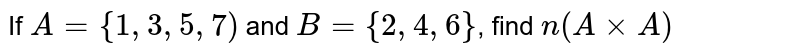 If `A={1,3,5,7)` and `B={2,4,6}`, find `n(AxxA)`