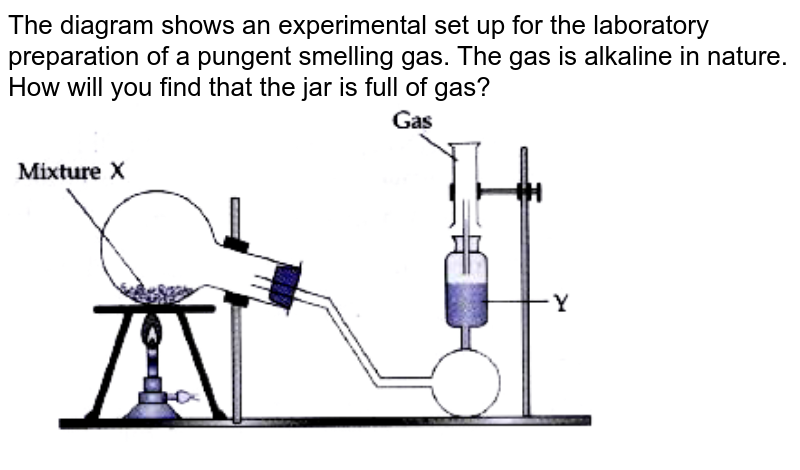 """The diagram shows an experimental set up for the laboratory preparation of a pungent smelling gas. The gas is alkaline in nature. <br> How will you find that the jar is full of gas? <br> <img src=""""https://doubtnut-static.s.llnwi.net/static/physics_images/AVC_RRM_ICSE_CHE_X_C08_B_E02_060_Q01.png"""" width=""""80%"""">"""