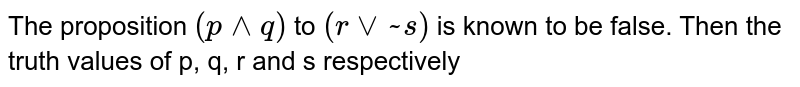 The proposition `(p  ^^ q)` to `(r  vv~ s)` is known to be false. Then the truth values of p, q, r and s respectively