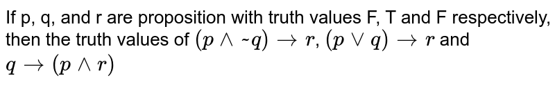 If p, q, and r are proposition with truth values F, T and F respectively,  then the truth values of `(p ^^ ~q) to r`, `(p  vv q) to r` and `q to (p ^^ r)`