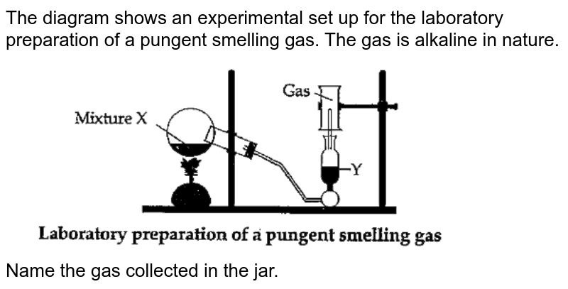 """The diagram shows an experimental set up for the laboratory preparation of a pungent smelling  gas. The gas is alkaline in nature. <br> <img src=""""https://doubtnut-static.s.llnwi.net/static/physics_images/OSW_ICSE_SQP_CHE_X_AP_03_E01_055_Q01.png"""" width=""""80%""""> <br> Name the gas collected in the jar."""