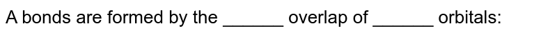 A bonds are formed by the ______ overlap of ______ orbitals: