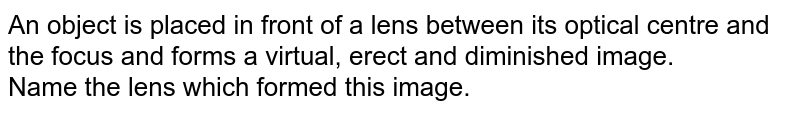 An object is placed in front of a lens between its optical centre and the focus and forms a virtual, erect and diminished image. <br> Name the lens which formed this image.