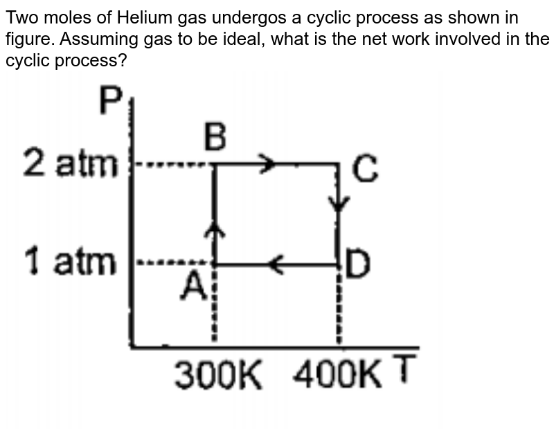 """Two moles of Helium gas undergos a reversible cyclic process as shown in figure. Assuming gas to be ideal, what is the net work involved in the cyclic process?<br><img src=""""https://doubtnut-static.s.llnwi.net/static/physics_images/PAT_CHE_0XI_P04_C09_E11_008_Q01.png"""" width=""""80%"""">"""