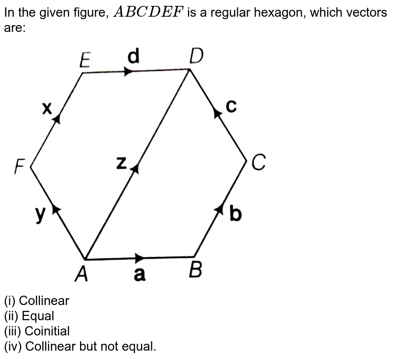 """In the given figure, `ABCDEF` is a regular hexagon, which vectors are: <br> <img src=""""https://d10lpgp6xz60nq.cloudfront.net/physics_images/ARH_AAG_V_3DG_C01_E01_003_Q01.png"""" width=""""80%""""> <br> (i) Collinear <br> (ii) Equal <br> (iii) Coinitial <br> (iv) Collinear but not equal."""