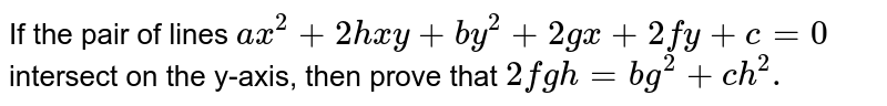 If the pair of lines `ax^2 +2hxy+ by^2+ 2gx+ 2fy +c=0` intersect on the y-axis then