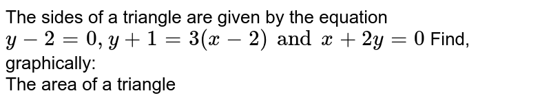 The sides of a triangle are given by the equation `y-2=0,y+1=3(x-2) and x+2y=0` Find, graphically: <br> The area of a triangle