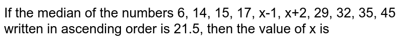 If the median of the numbers 6, 14, 15, 17, x-1, x+2, 29, 32, 35, 45 written in ascending order is 21.5, then the value of x is