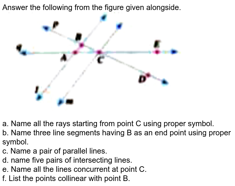 """Answer the following from the figure given alongside. <br> <img src=""""https://doubtnut-static.s.llnwi.net/static/physics_images/OXF_SMT_ICSE_MAT_VI_C13_E07_007_Q01.png"""" width=""""80%""""> <br> a. Name all the rays starting from point C using proper symbol. <br> b. Name three line segments having B as an end point using proper symbol. <br> c. Name a pair of parallel lines. <br> d. name five pairs of intersecting lines. <br> e. Name all the lines concurrent at point C. <br> f. List the points collinear with point B."""